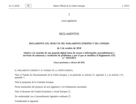 Reglamento (UE) 2018/1724 relativo a la creación de una pasarela digital única de acceso a información, procedimientos y servicios de asistencia y resolución de problemas y por el que se modifica el Reglamento (UE) nº 1024/2012