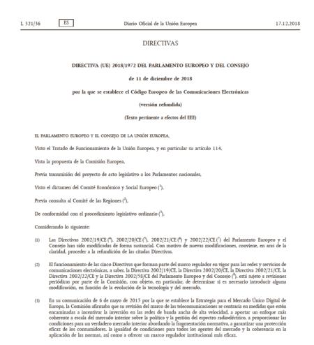 Directiva (UE) 2018/1972 del Parlamento Europeo y del Consejo de 11 de diciembre de 2018 por la que se establece el Código Europeo de las Comunicaciones Electrónicas (versión refundida)