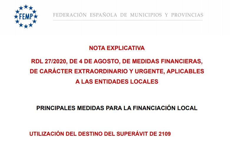 Nota explicativa sobre las medidas financieras aplicadas a las entidades locales