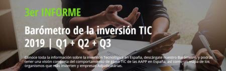 """Tercera entrega: """"Barómetro Inversión Tecnológica en AAPP en España 2019"""""""