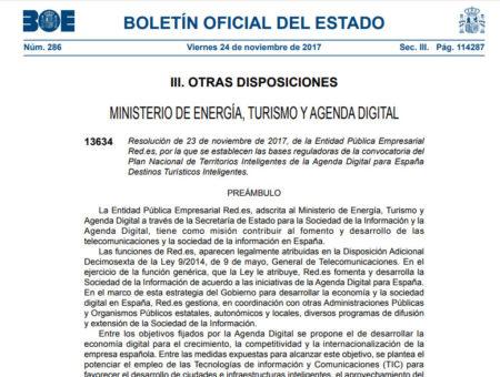 Resolución de 23 de noviembre de 2017, de la Entidad Pública Empresarial Red.es, por la que se establecen las bases reguladoras de la convocatoria del Plan Nacional de Territorios Inteligentes de la Agenda Digital para España Destinos Turísticos Inteligentes.