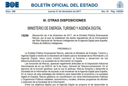 Resolución de 4 de diciembre de 2017, de la Entidad Pública Empresarial Red.es, por la que se establecen las bases reguladoras de la Convocatoria del Plan Nacional de Territorios Inteligentes de la Agenda Digital para España, Pilotos de Edificios Inteligentes