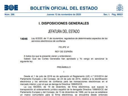 Ley 6/2020, de 11 de noviembre, reguladora de determinados aspectos de los servicios electrónicos de confianza