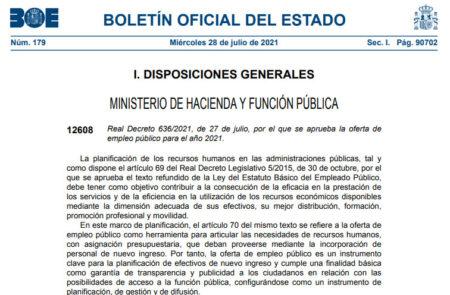 Real Decreto 636/2021, de 27 de julio, por el que se aprueba la oferta de empleo público para el año 2021
