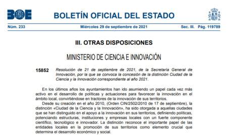 Resolución de 21 de septiembre de 2021, de la Secretaría General de Innovación, por la que se convoca la concesión de la distinción Ciudad de la Ciencia y la Innovación correspondiente al año 2021