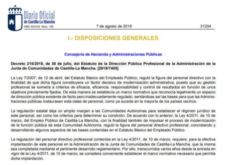 Decreto 215/2019, de 30 de julio, del Estatuto de la Dirección Pública Profesional de la Administración de la Junta de Comunidades de Castilla-La Mancha