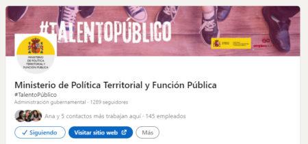 El Ministerio de Política Territorial y Función Pública abre una cuenta en LinkedIn