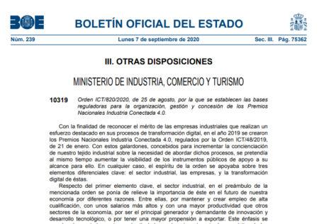 Bases reguladoras para la organización, gestión y concesión de los Premios Nacionales Industria Conectada 4.0.