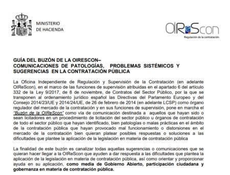 Buzón de la OIReScon: comunicación de patologías, problemas sistémicos y sugerencias en la contratación pública