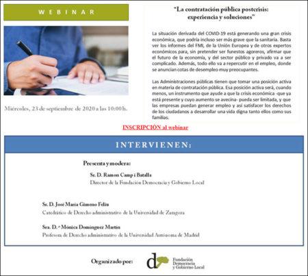 """Ya puedes acceder al webinar en diferido sobre """"La contratación pública postcrisis: experiencia y soluciones"""""""